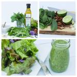 Arugula Mint Dressing over Salad Greens
