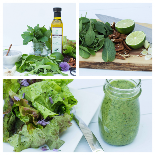 Arugula Mint Dressing over Salad Greens